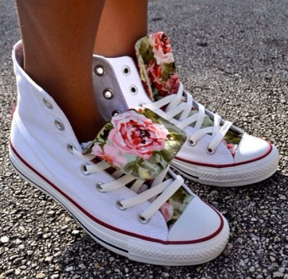 summer tumblr white instagram shoes flowers floral fashion converse white trainers