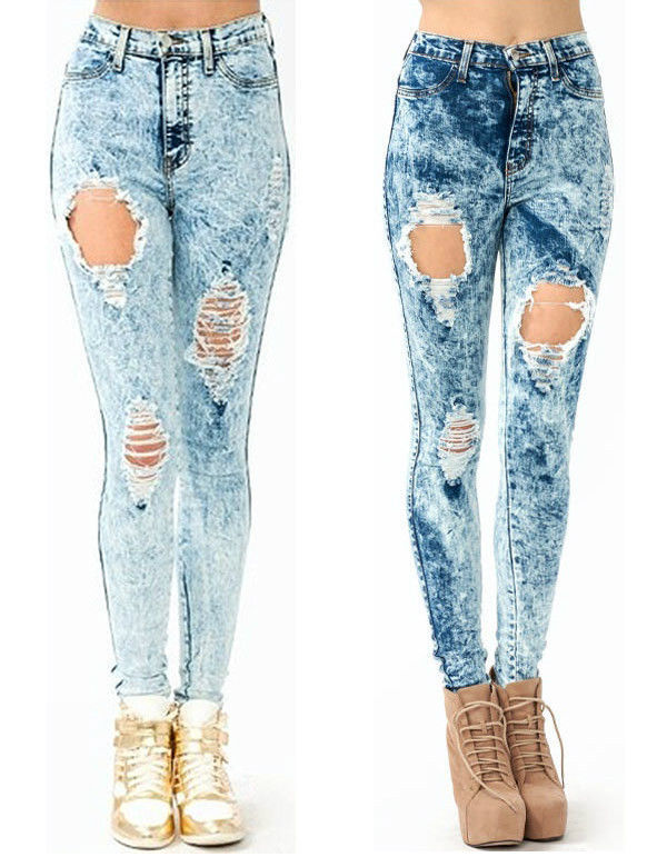 Popular High Waist Acid Mineral Wash Distressed Ripped Skinny Denim Jean Pants | eBay