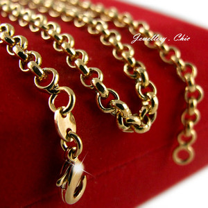 "9ct yellow gold ladies mens 23"" solid belcher chain necklace 14.6gms gf (77)"