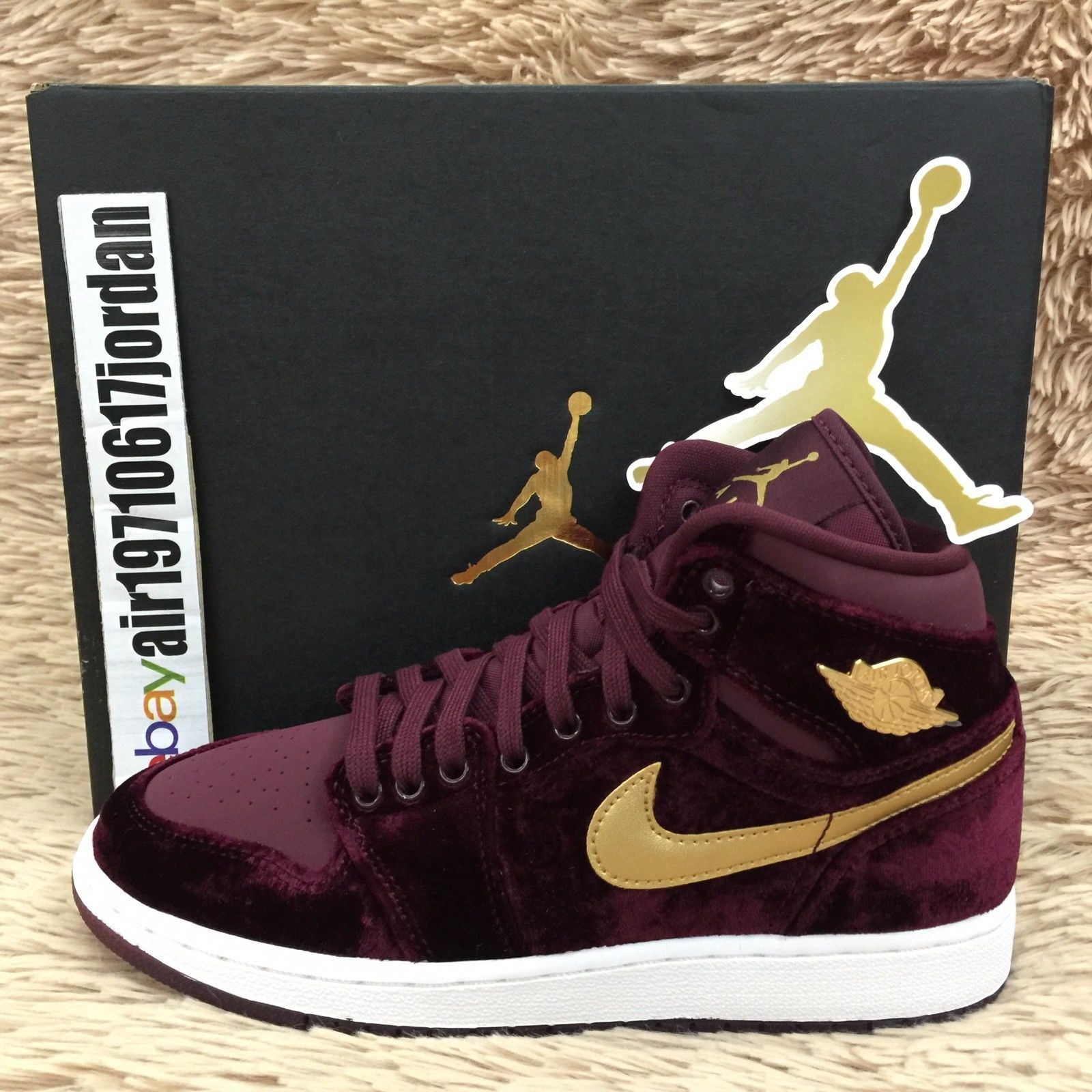 467d3ac5146665 Air Jordan 1 Retro HI GG HC Heiress Collection Velvet Gold US 4~7Y ...