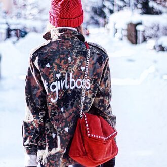 jacket customized printed jacket bag red bag chain bag suede suede bag beanie equality