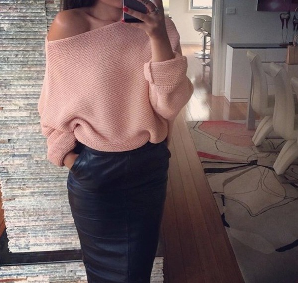 sweater pink pull pull t-shirt cardigan top suit pink sweater large top cozy jumpsuit nude tan colour knitted top leather skirt leather skirt maxi skirt maxi cute sweaters cute top cute skirt cute shirt sexy sweater sexy shirt style swag top swag outfit pink oversized sweater jumper oversized sweater knitwear fine knit jumper
