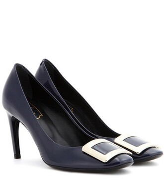 pumps leather blue shoes