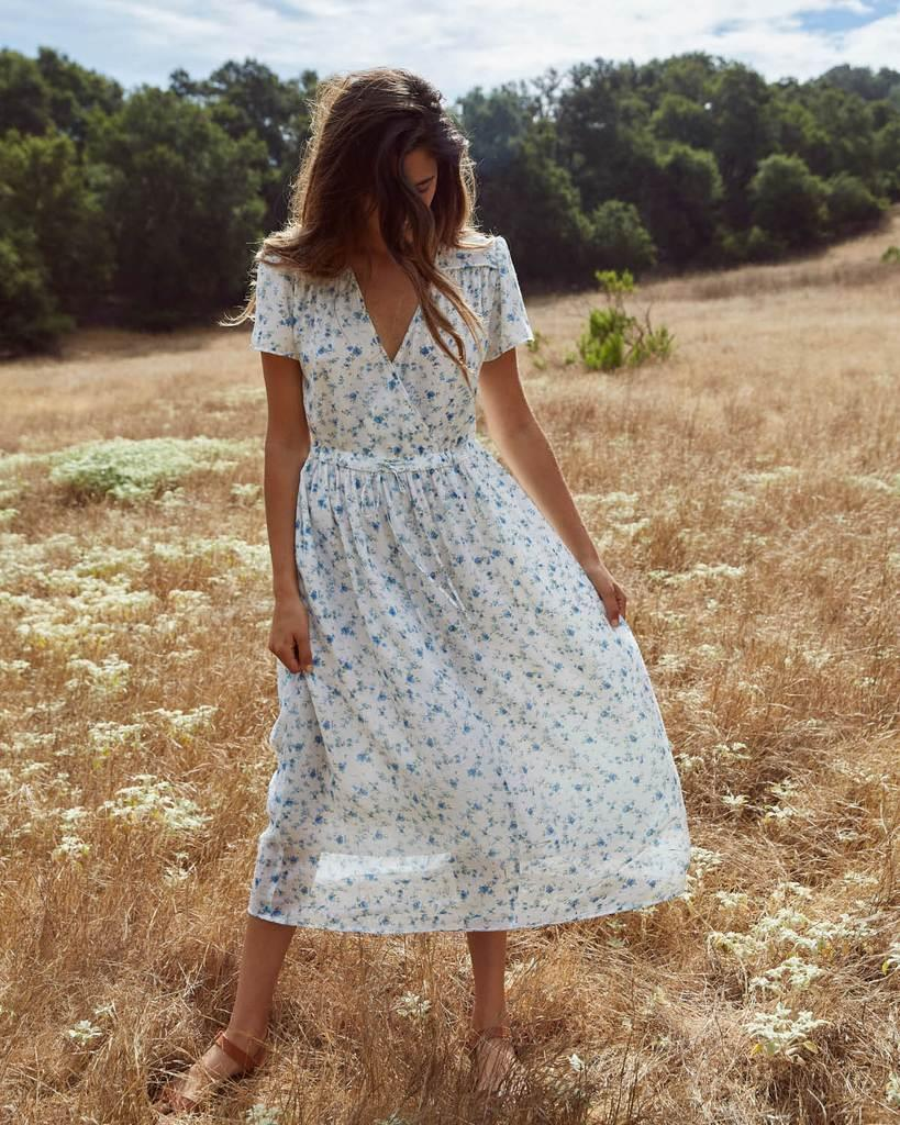 The Dawn Dress | White and Blue Floral