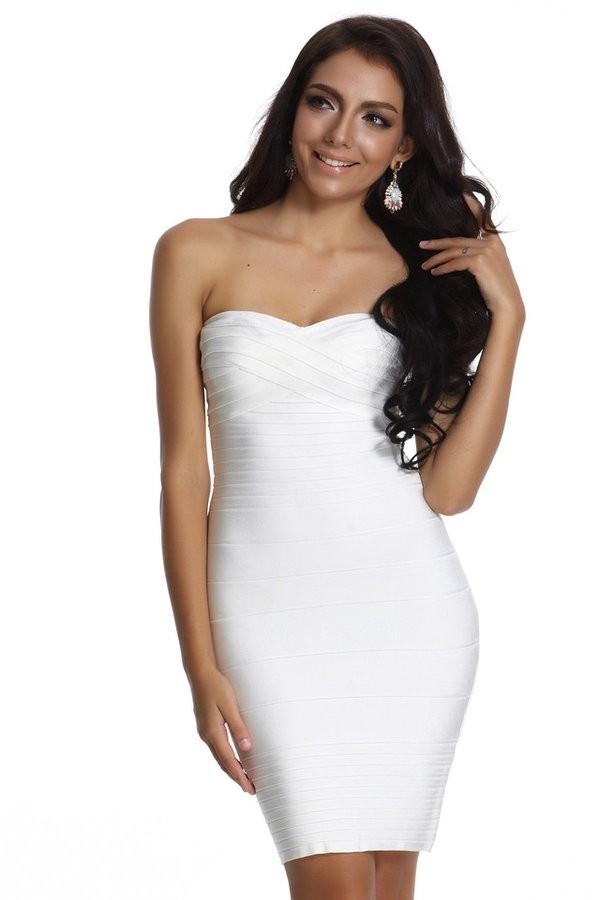 Chloe white strapless bandage dress