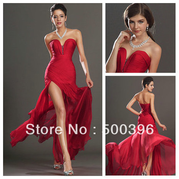Aliexpress.com : Buy Custom Made Red Chiffon Side Slit Mermaid 2014 Free Shipping Weddings & Events Dresses Hot Sale from Reliable prom dress free shipping suppliers on Su Zhou Wedding &Events Co,LTD