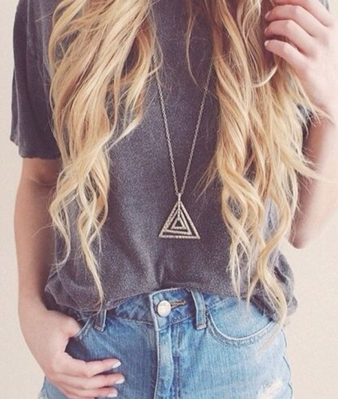 triangle jewels t-shirt loose tshirt speckled grey