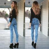 jeans,acid wash jeans,acid washed skinny jeans,sweater,black,acid wash,black sweater,love,open back,back detail,detailed back,shirt