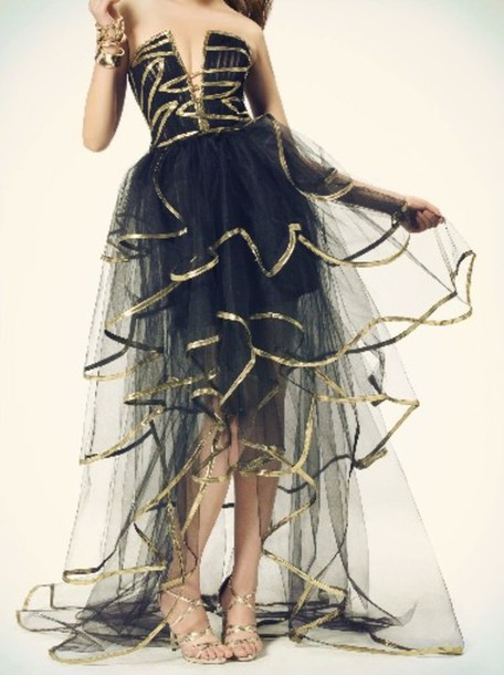 dress black and gold dress prom dress prom gown black and gold