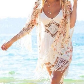 swimwear dress white lace crochet beach fashion style