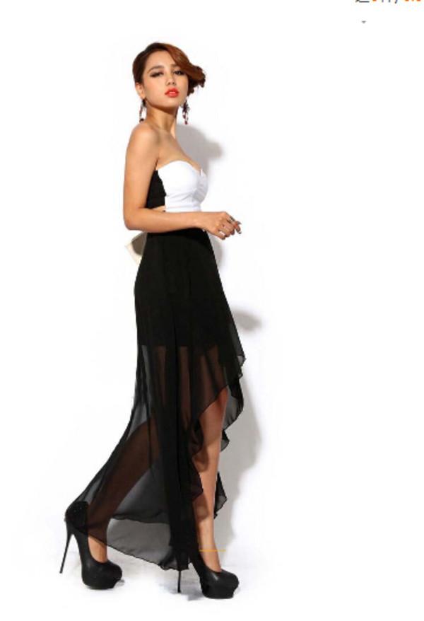 high low dress high low dress black dress chiffon dress