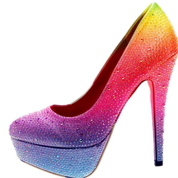 e4ad3a42e9e7 shoes rainbow heels Sparkle shoes rainbow pumps glitter shoes glitter heels
