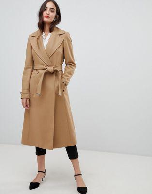 Karen Millen wool wrap camel coat at asos.com