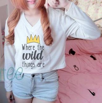 shirt wild shirt movie shirt crown crown shirt crop tops long sleeve shirt women shirt teen shirt slogan tshirt quote on it cute cropped top