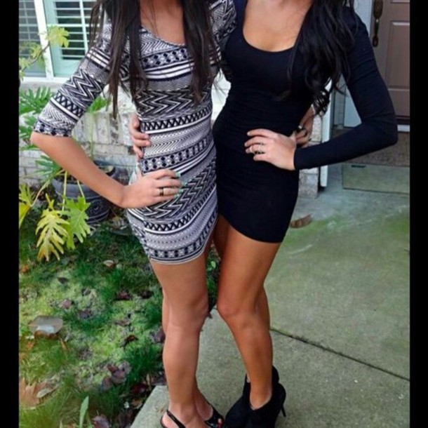 Small Teens dress: clothes, tribal pattern, black and white, short party