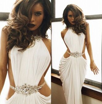 dress backless prom dress white chiffon dress ruffles floor length dress