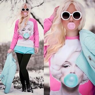 sweater leggings jumper marilyn monroe round sunglasses