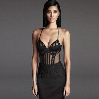dress black long dress lace dress bra lingerie prom dress formal dress dresses evening black lace dress