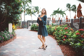 cara loren blogger dress shoes sunglasses bell sleeves flat sandals sandals green dress