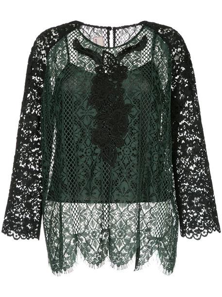 Antonio Marras blouse women lace cotton green top