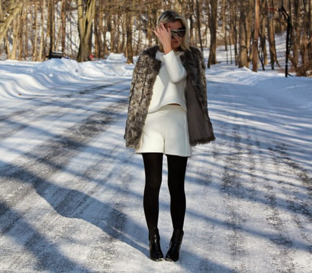 platinum and penniless blogger shorts two-piece fuzzy coat