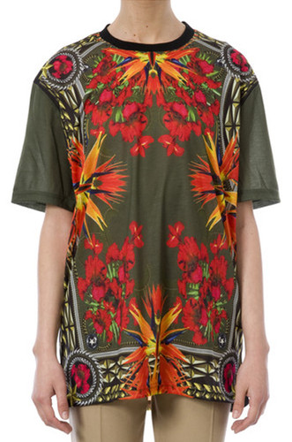 Givenchy birds of paradise print flower rottweiler t