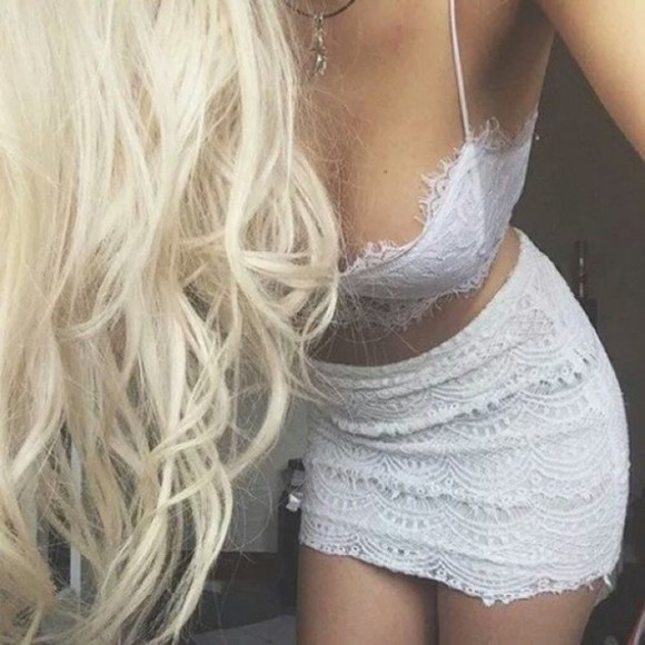 white lace sexy white lace top crop tops lace top two pieces set lace dress bralette white lace bralet lace skirt mini skirt white mini skirt two piece dresses blonde white dress white lace dress