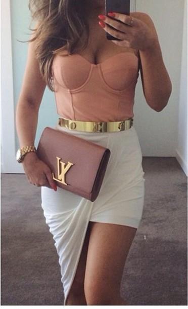 skirt white mini gold pink blouse belt bag