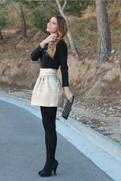 skirt,cream,outfit,gold,fit and flare,high waisted