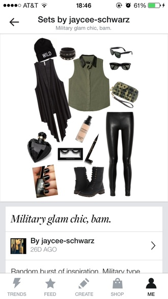 bag combat boots camouflage rayban leather leggings beanie wild edgy make-up eyelashes eye shadow shoes pants army green jacket army green nail polish sunglasses eye makeup stacked bracelets black