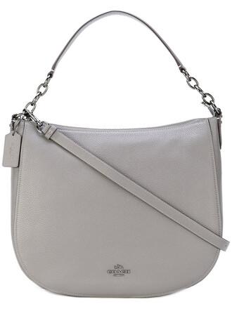 women bag leather grey