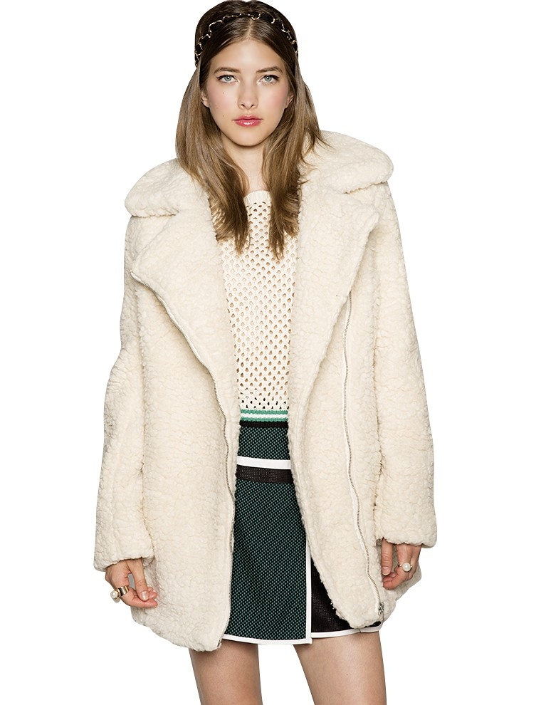 Shearling Coat - White Faux Fur Coats - Borg Coat -$138
