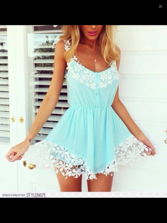 romper blue lace cute dress ️summer beach pretty beach dress