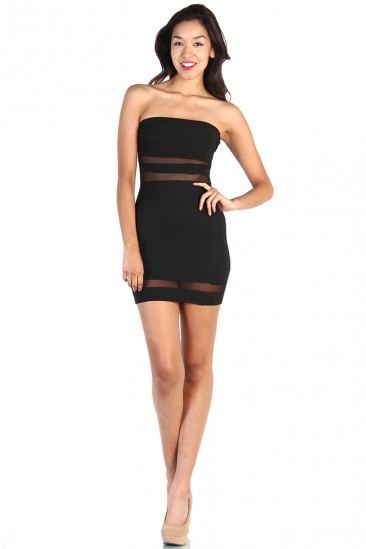 LoveMelrose.com From Harry & Molly | Mesh Stripe Cut Out Dress - Black