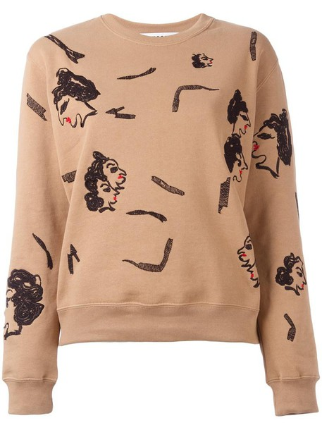 MSGM sweatshirt embroidered women nude cotton sweater