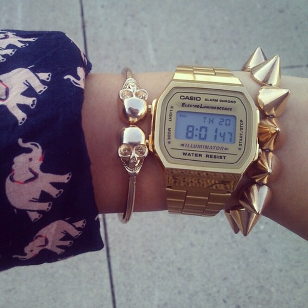 jewels watch gold watch Casio wrist watch fashion skater hipster