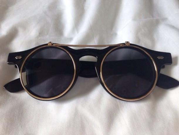 sunglasses grunge wishlist circle hipster vintage tumblr black gold grunge style fashion soft grunge lunettes