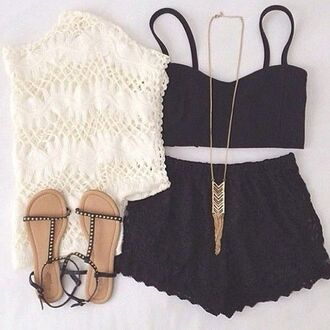 lace shorts crop tops knit sweater