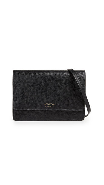 Smythson Panama Purse with Strap in black