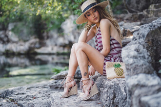 not jess fashion blogger hat romper bag shoes wedges clutch summer outfits