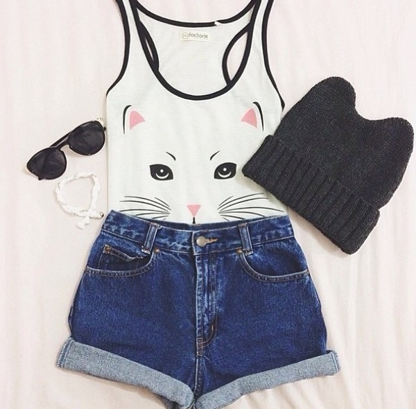 hat cats cats beanie beanie tank top tank top High waisted shorts hipster shorts top cat kitten white cute tumblr outfit top shorts summer winter yolo swag
