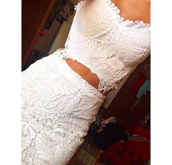 skirt top white lace
