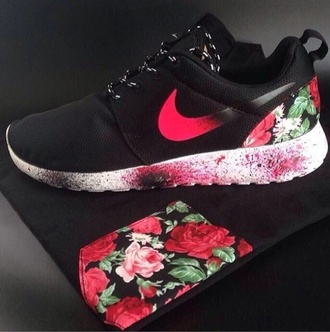shoes shirt nike roshe run flowers nike rosh run high top sneakers nike sneakers roshe runs nike roshes floral roshes black red flowers print t-shirt roses pocket fashion sportswear sports shoes