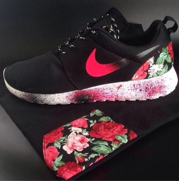 shoes shirt nike roshe run flowers nike roshe run high top sneakers