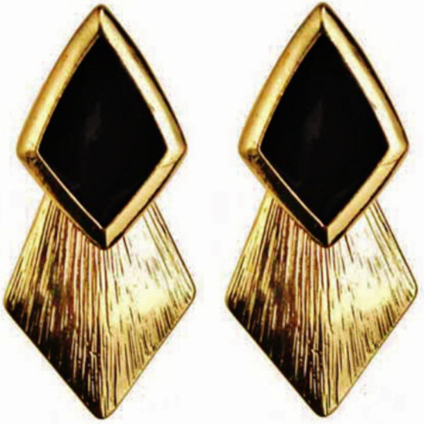 0aee563a13 jewels gold earrings gold black geometric geometrical earrings ethnic  triangle triangles drop earrings