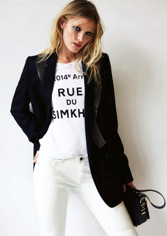le fashion blogger bag white jeans white t-shirt blazer graphic tee boyish jacket t-shirt french girl style
