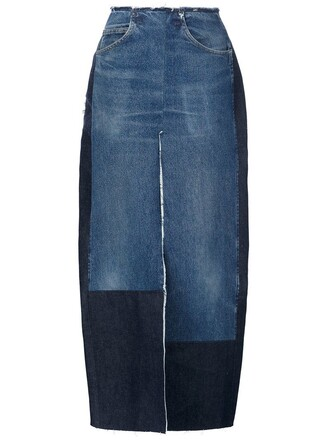 skirt slit skirt denim slit skirt denim long slit blue