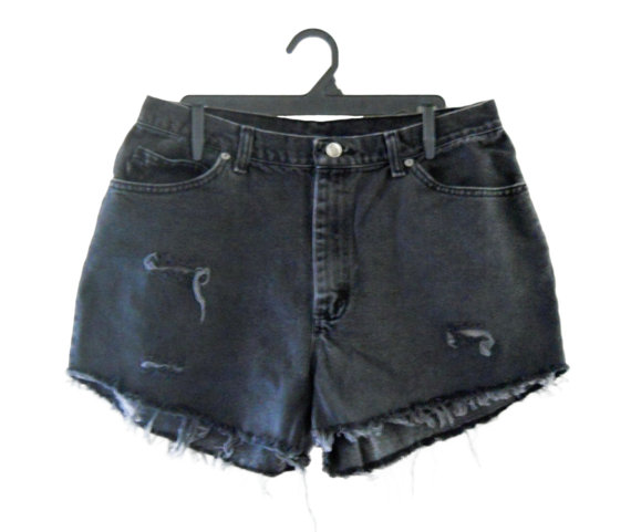 High Waist Shorts Black Denim Shorts High by TheVilleVintage