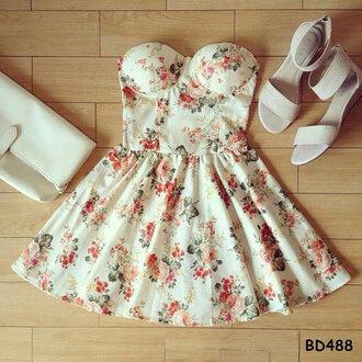 dress shoes bag floral dress bustier white flare flare skirt wallet sandals floral