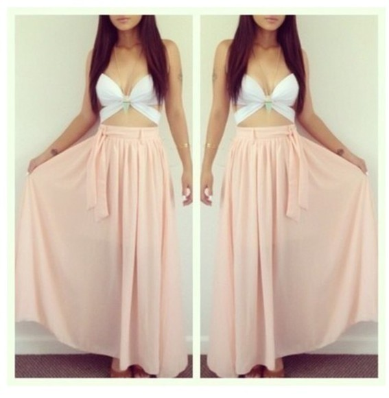 pink dress salmon skirt top flows long